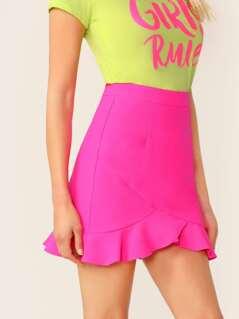 Mid Rise Ruffle Hem Back Zip Neon Mini Skirt