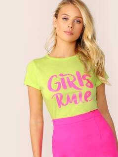 Crew Neck Girls Rule Graphic Short Sleeve T-Shirt