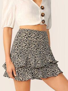 Tiered Ruffle Flared Leopard Mini Skirt