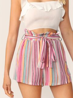 Paperbag Waist Slant Pocket Belted Shorts
