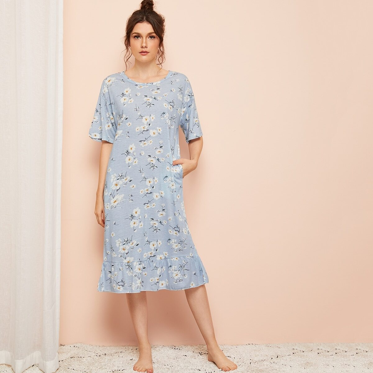 Bloemenprint Ruffle Zoom Night-jurk