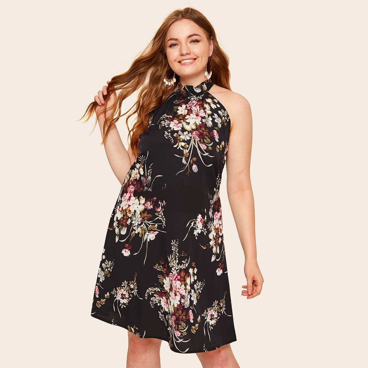 Zwart Boho Bloemen Grote maten jurken Tie Terug