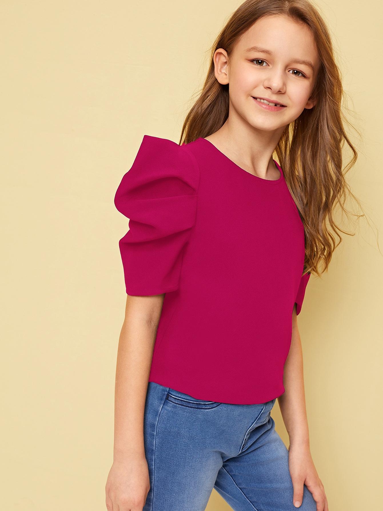 Фото - Однотонный топ с оригинальным рукавом и застежкой сзади для девочек от SheIn розового цвета