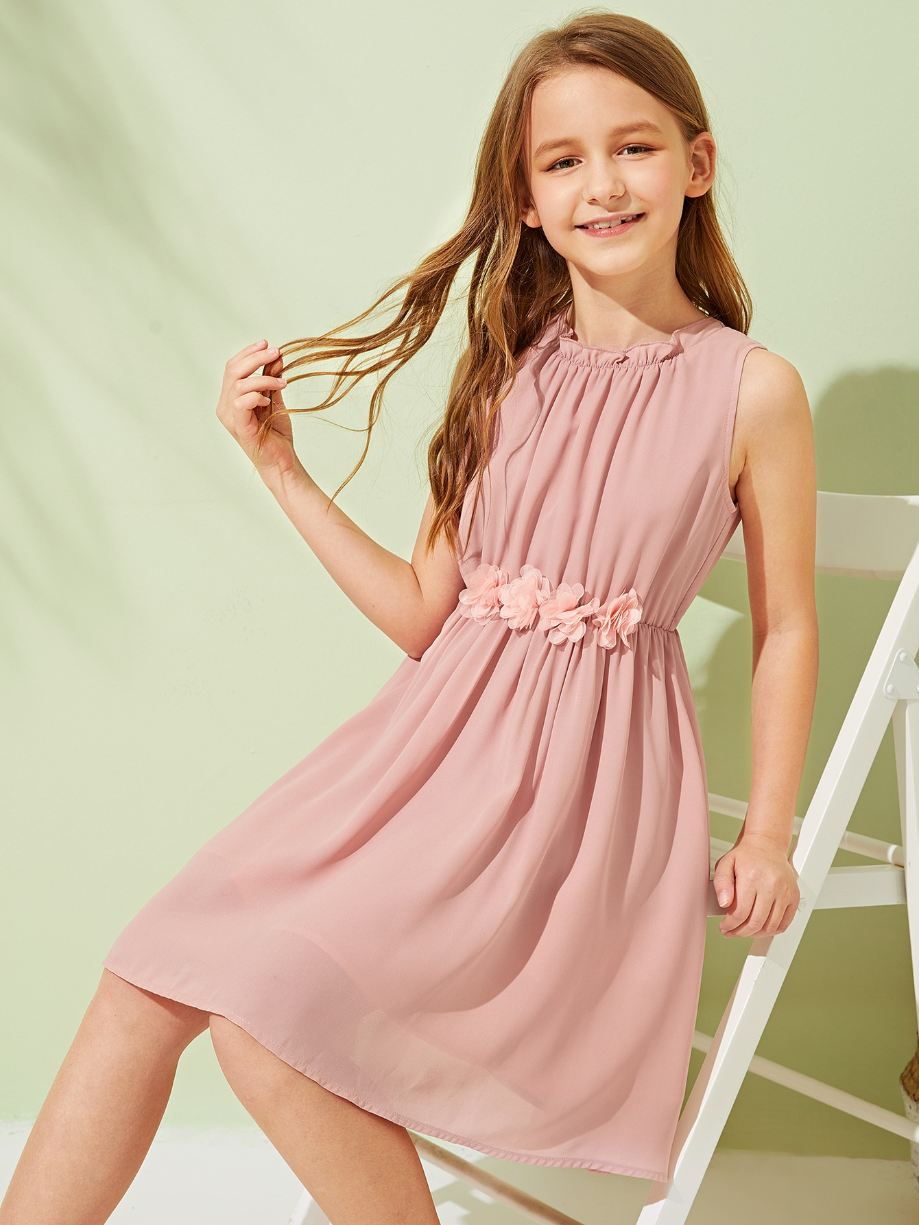 Фото - Платье с аппликацией для девочек от SheIn цвет розовые