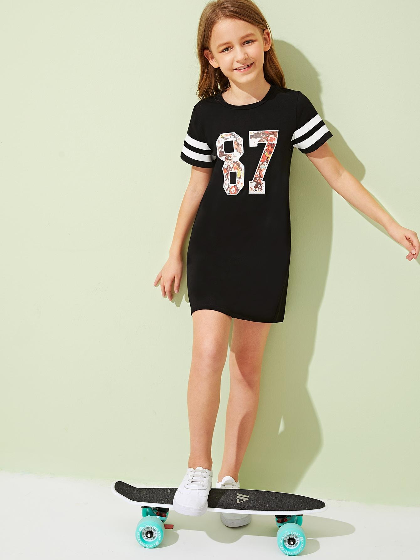 Фото - Платье с оригинальным принтом для девочек от SheIn цвет чёрные