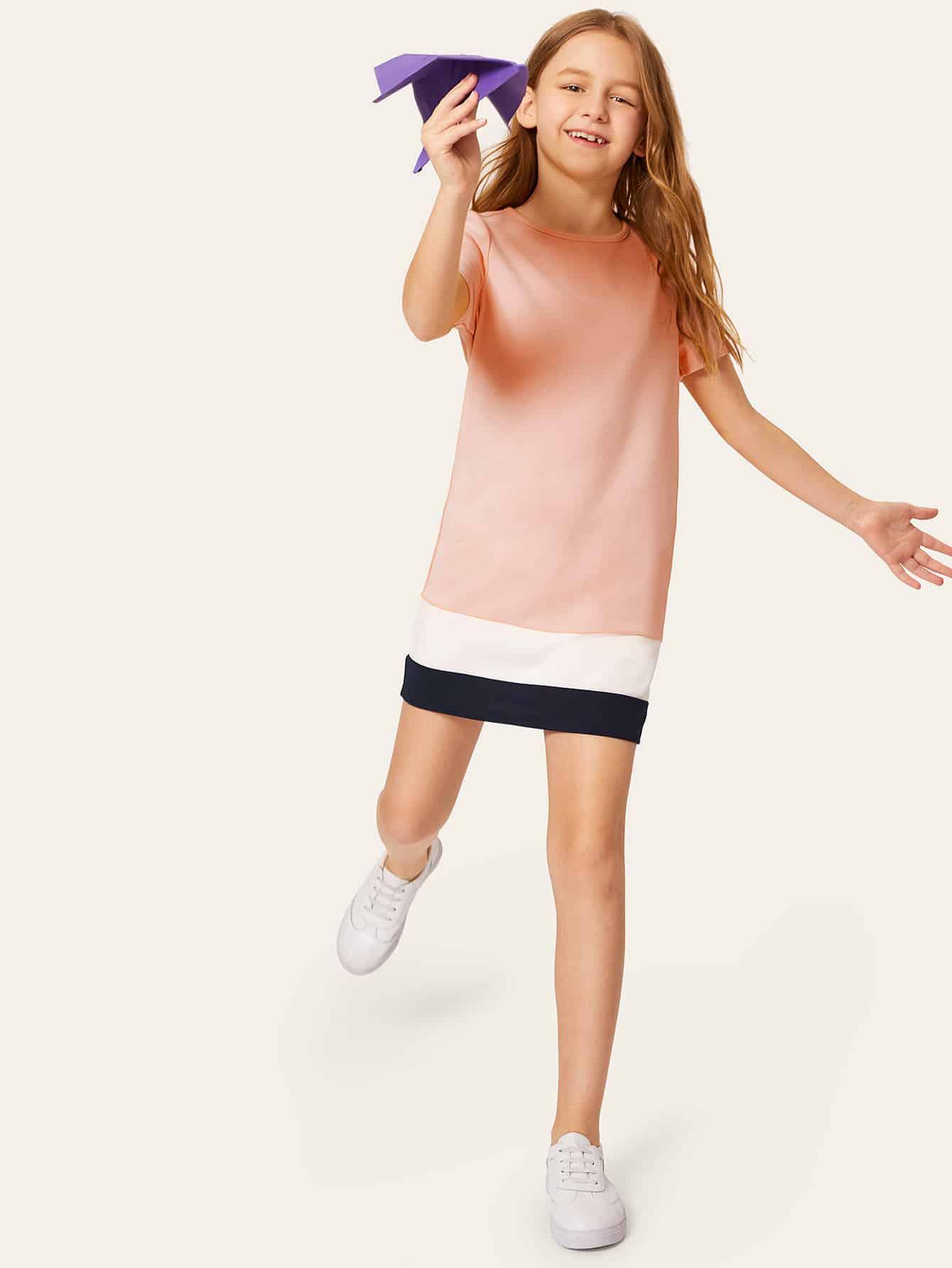 Фото - Контрастное платье с круглым воротником для девочек от SheIn цвет розовые