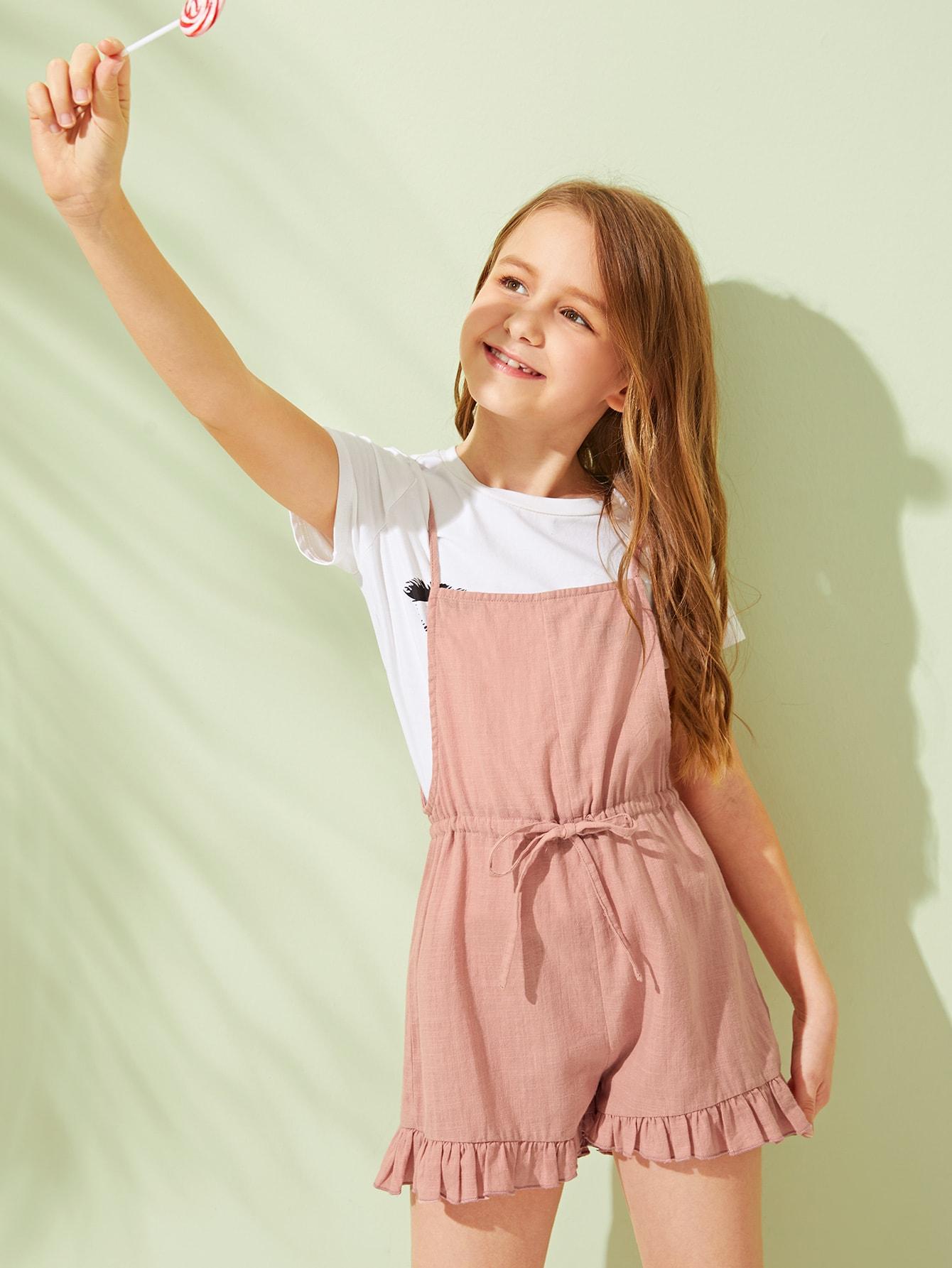 Фото - Комбинезон с оборкой и поясом для девочек от SheIn розового цвета