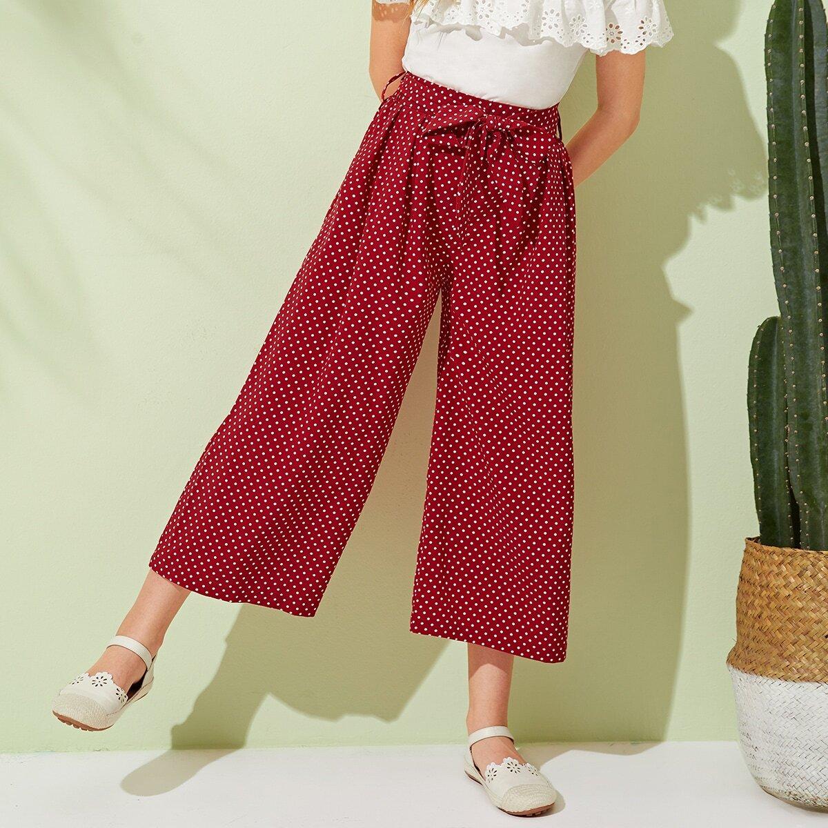 SHEIN / Pantalones cortos anchos de niñas con cinturón de lunares