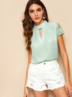 V-cut Mock Neck Embroidered Mesh Sleeve Top