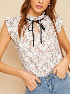 Ditsy Floral Tie Frilled Neckline Top