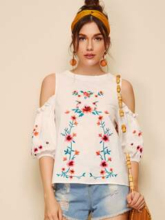 Frill Trim Cold Shoulder Embroidery Floral Blouse