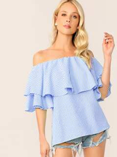 Flounce Foldover Off Shoulder Striped Top