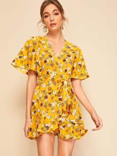Botanical Print Flutter Sleeve Wrap Dress