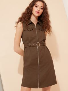 Belted Utility Dress