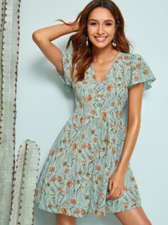 Allover Botanical Print Flutter Sleeve Tea Dress