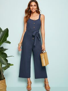 Button Front Belted Wide Leg Slip Jumpsuit