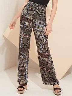 Mixed Snake Print Wide Leg Trousers