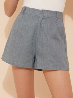 Pinstripe Two Pocket Shorts