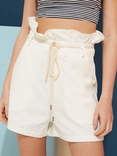 Rope Belted Paperbag Shorts