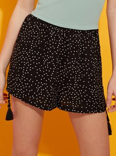 Polka Dot Tassel Shorts