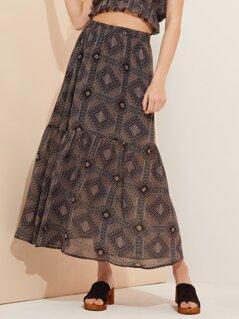Boho Print Tiered Skirt