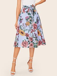 Mixed Print Wide Waistband Self Belted Skirt
