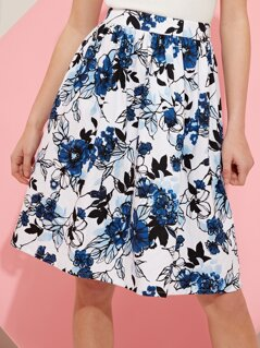 Outline Floral Aline Skirt