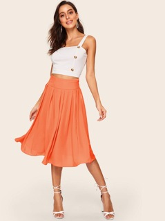 Neon Orange Wide Waistband Pleated Skirt