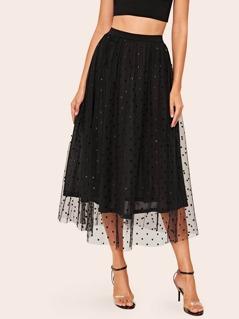 Elastic Waist Dot Mesh Overlay Skirt