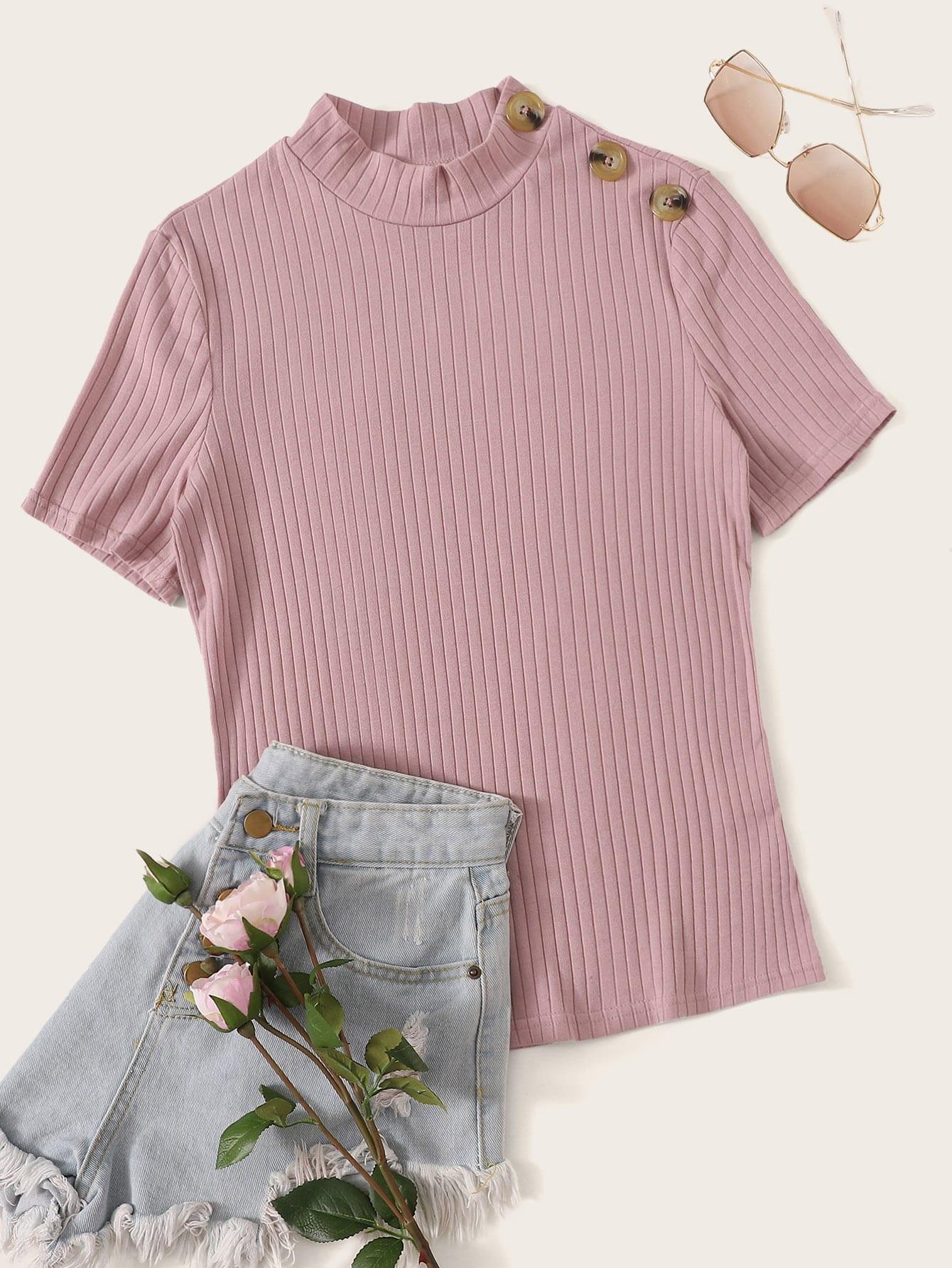 Фото - Вязаный топ с пуговицами и воротником-стойка от SheIn розового цвета