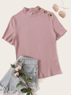 Mock Neck Buttoned Shoulder Rib-knit Top