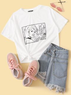 Cartoon and Slogan Print Tee