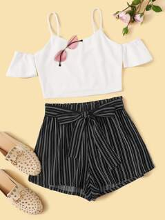 Cold Shoulder Top and Bow Tie Waist Shorts Set
