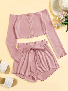 c84d9781b09c69 Single Breasted Rib-knit Bardot Top   Belted Shorts Set