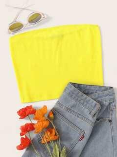 Neon Yellow Crop Rib-knit Bandeau Top