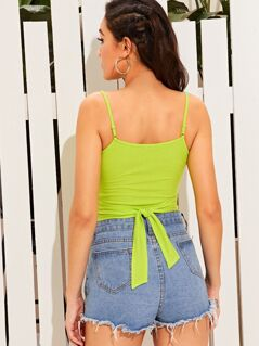 Neon Lime Cross Wrap Rib-knit Cami Top