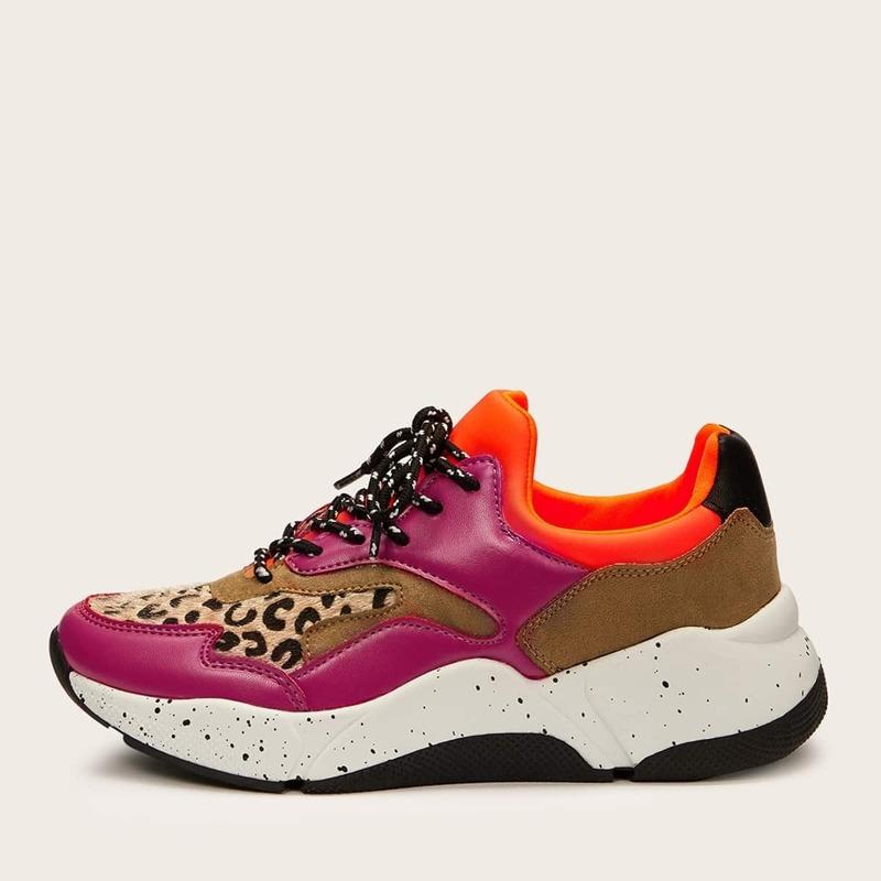 Leopard Detail Color-block Sneakers, Multicolor