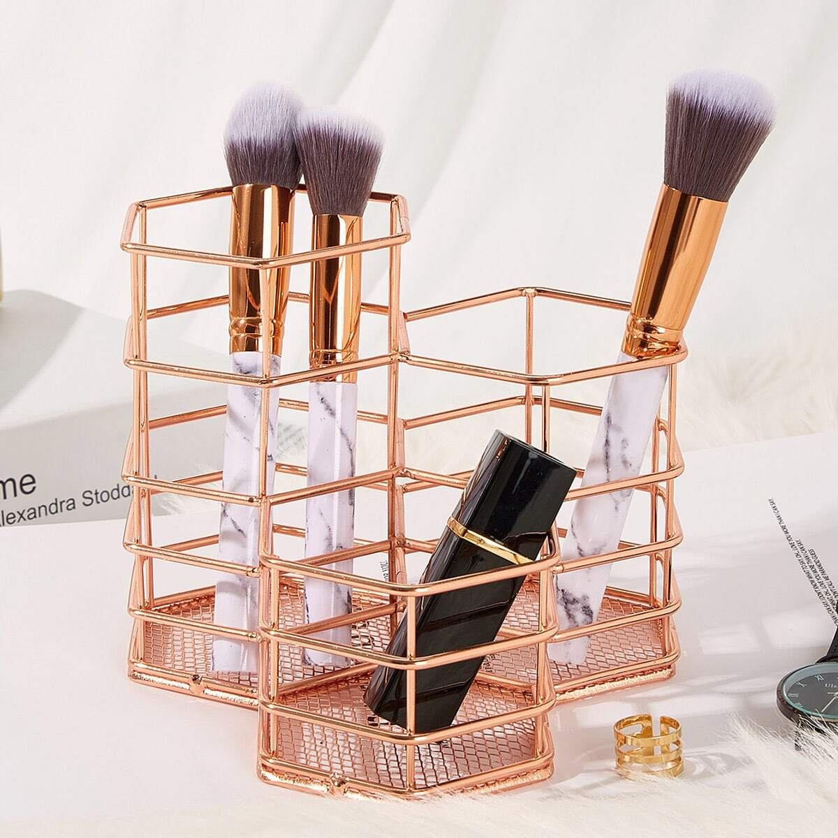 Geometrische ijzeren make-up borstel emmer 1pc