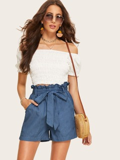 Paperbag Waist Pocket Patched Denim Shorts