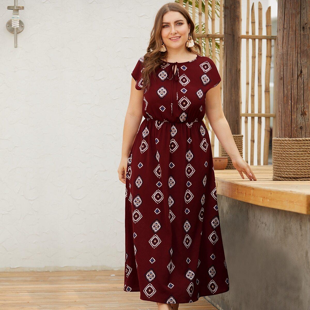 Bordeaux Casual Tribal Grote maten jurken Geknoopt