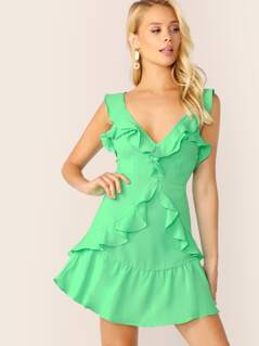 Layered Ruffle Trim Open Back V-Neck Mini Dress