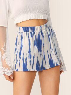 Elastic Waist Two Tone Tie Dye Side Pocket Shorts