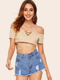 Bardot Criss-cross Lace Up Suede Top