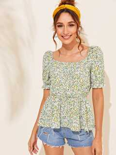 Ditsy Floral Square Neck Smock Top