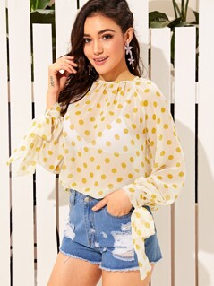 Tie Cuff Polka-dot Print Sheer Top