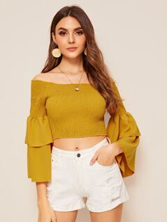 Layered Sleeve Shirred Bardot Crop Top