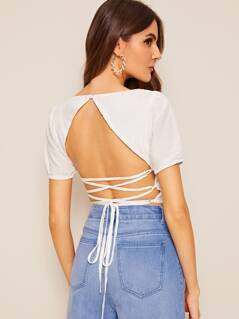 Solid Lace Up Backless Crop Top