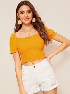 Square Neck Shirred Crop Top
