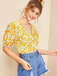 Ditsy Floral Tie Back Wrap Crop Top