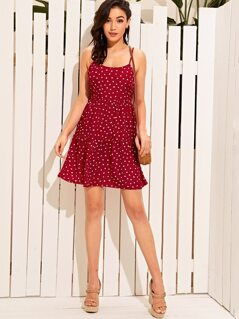 Allover Heart Print Flippy Hem Slip Sundress